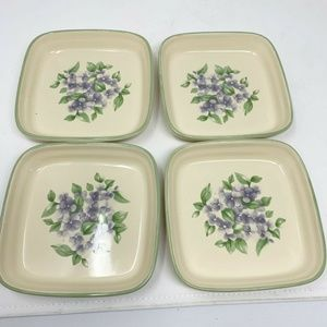 "Pfaltzgraff 'Garden Party' 6"" Square plates set 4"